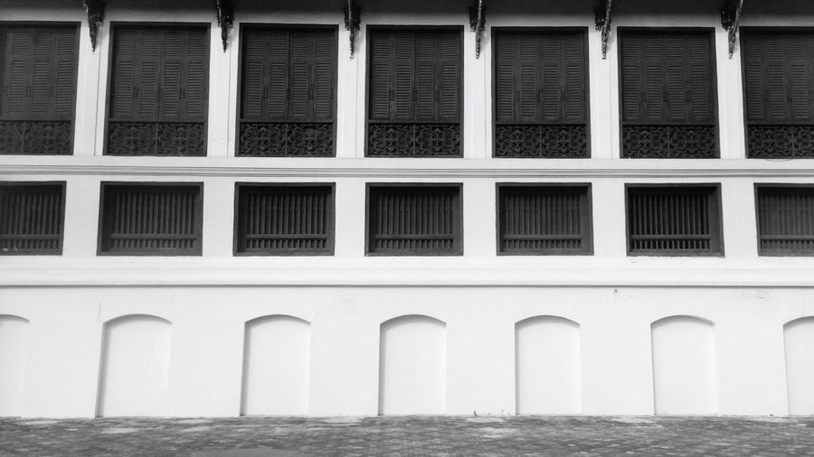 Textures And Surfaces Pattern Windows Architecture Building Exterior Built Structure Outdoors Landscape Landscapes With WhiteWall Wall Backgrounds Thailand Blackandwhite