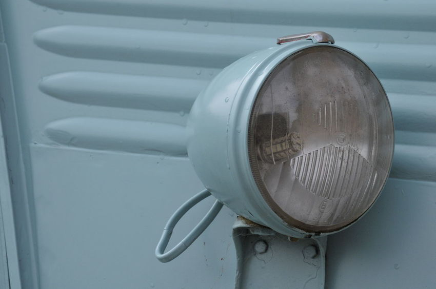 A close up of a cool french van. Light Blue Circle Close-up Day Equipment French Geometric Shape Glass Headlight Land Vehicle Metal Mode Of Transportation No People Old Outdoors Transportation vanishing point Vehicle Vintage