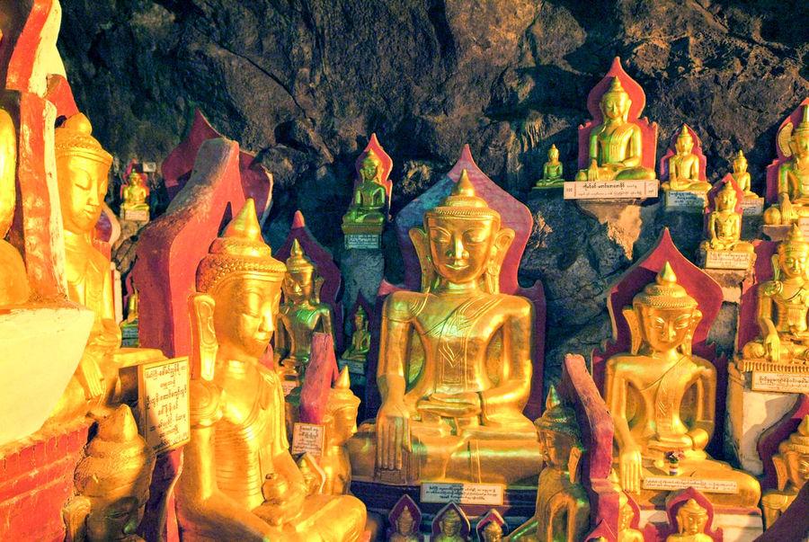 Buddha Golden Burma Day Myanmar No People Outdoors Religion Sculpture Statue Staue