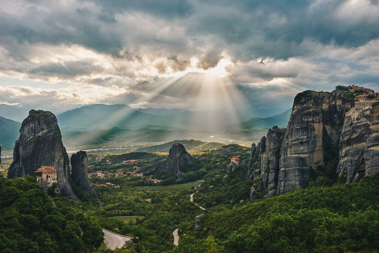 Beauty In Nature Cloud - Sky Day EyeEmNewHere Greece Landscape Meteora Mountain Natura Nature Beauty Outdoors Rock Formation Scenics Sky Sunset