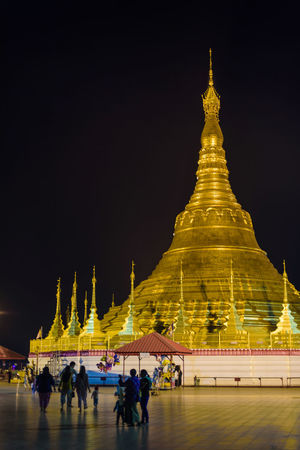 Architecture Building Exterior Built Structure Gold Colored Illuminated Lifestyles Myanmar Outdoors Pagoda Place Of Worship Real People Religion Shwedagon Spirituality Tachileik Travel Travel Destinations