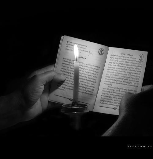 My Hobby Reading A Book Relaxing Enjoying Life Candlelight Love Praying Black & White Alone Reading
