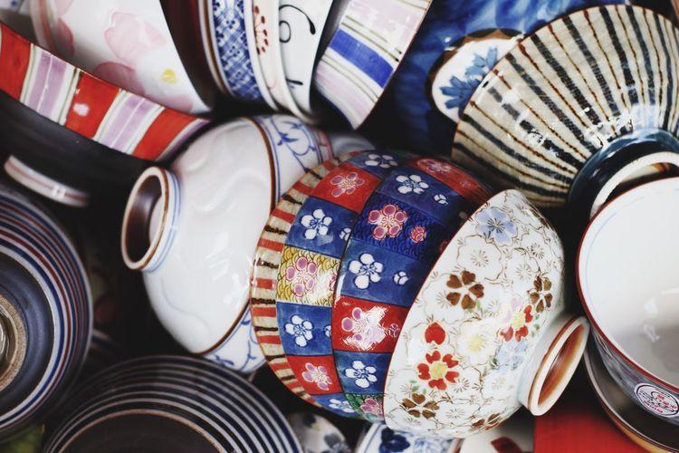 Full frame shot of porcelain bowls