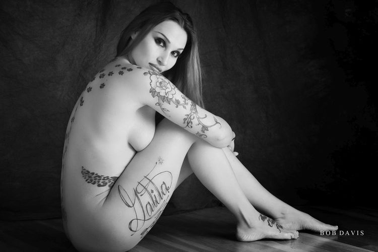 Nikon Adult Beautiful Woman Beauty Black And White Full Length Lifestyles Looking At Camera Monochrome On1 One Person Portrait Real People Sitting Tattoo Women Young Adult Young Women