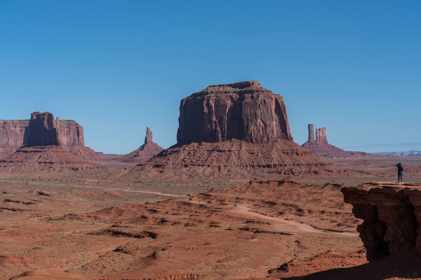 Monument valley landscape on a sunny day Holiday Landscape_Collection Lost In The Landscape Monument Valley Monument Valley Tribal Park Travel Photography Utah Blue Sky And Clouds Sunny Day Travel Destinations Full Frame Full Frame Shot