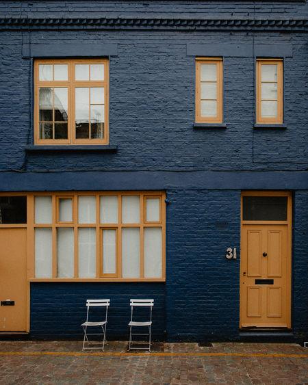 Blue and yellow facade