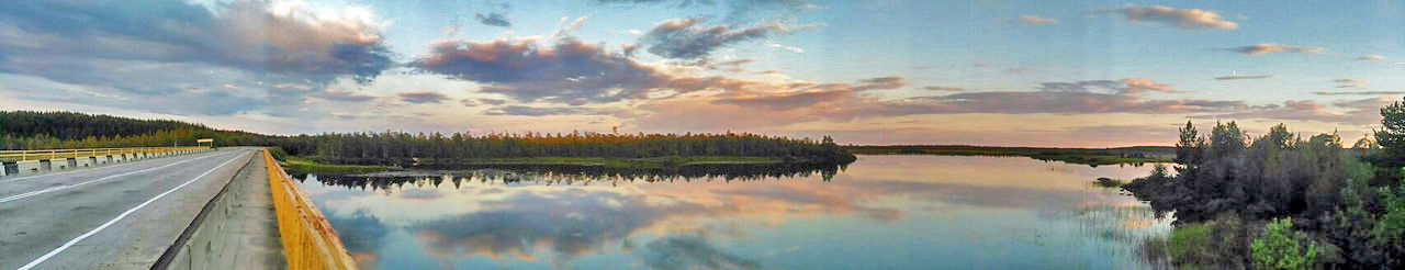Bridge Forest Karelia Panorama River Sky Wood