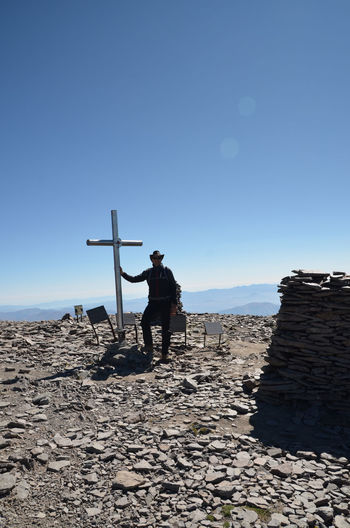 Aragat Armenia Cross Hiking Mount Ararat September View From The Top Advanture Clear Sky Day Full Length Human Arm Leisure Activity Lifestyles Nature On The Top One Person Real People Scenics - Nature Southern Peaks Standing Summit Summit Cross Travel Destination W-armenien