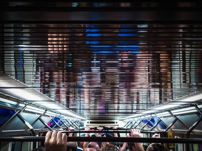 Interior of illuminated subway train