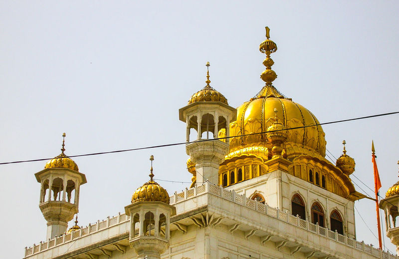 Low angle view of gurudwara against sky