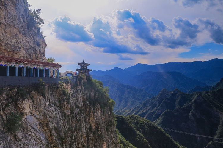 Panoramic view of temple against cloudy sky