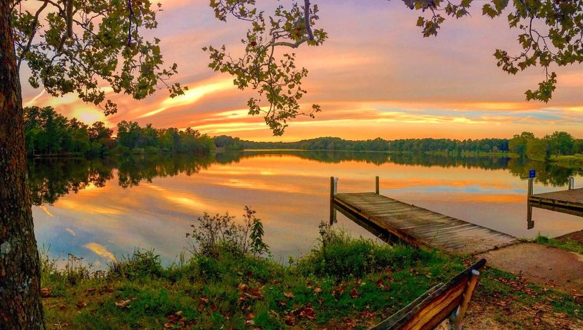 Late afternoon sunset Sunset Lake Water Tranquil Scene Scenics Tranquility Reflection Beauty In Nature Orange Color Pier Sky Idyllic Tree Majestic Non-urban Scene Cloud - Sky Nature Reflection Tranquility Calm Vibrant Color
