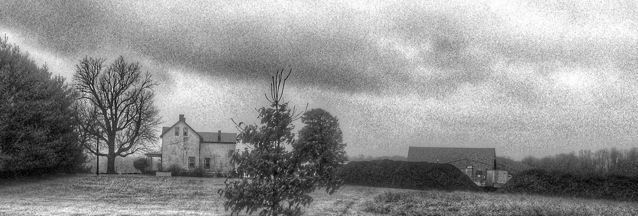 Built Structure Weather Tree Outdoors Architecture Grass Field Day Building Exterior No People Nature Sky Blackandwhite Photography Blackandwhite Beauty In Nature