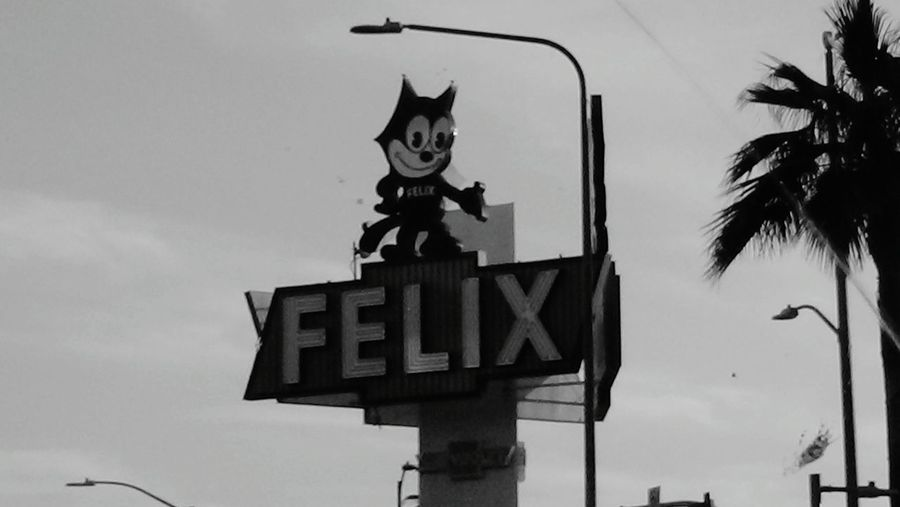 Felix Chevrolet Old School Business Billboard Los Angeles, California felix Felix Chevrolet Los Angeles CaliforniaDown Town Los Angeles Retro Car Sign Felix The Cat