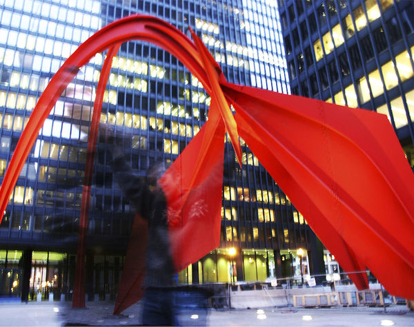 Art Blurred Motion Capturing Movement Motion Blur One Person Public Square Red Sculpture