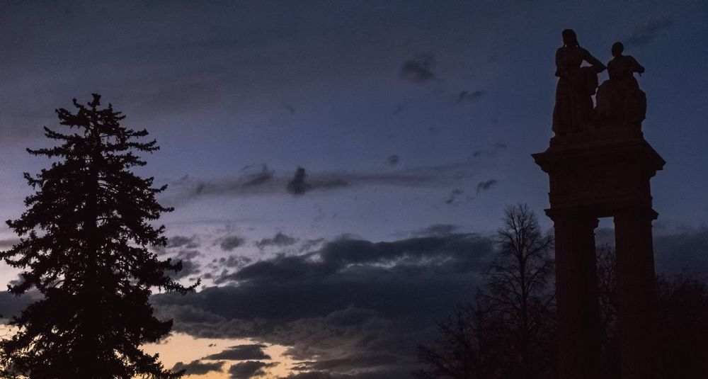 """Sullivan Gateway, as the sun sets beyond the western horizon"" (2017) Silhouette Outdoors Sculpture Architecture Sky Sunset Tree Statue Denver,CO Dusk In The City Dusky Sky"