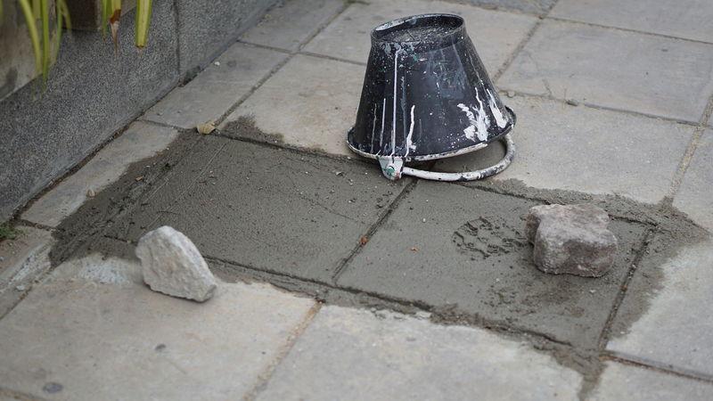 FootPrint Footpath Cement Day No People Outdoors Paint Bucket Sidewalk