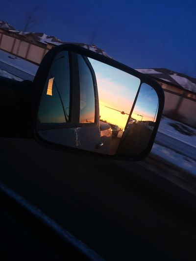 Sunrise Car Transportation Mode Of Transport Land Vehicle Side-view Mirror Sky No People Nature Outdoors Window Reflection Close-up Day