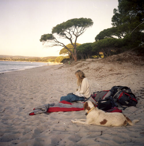 Analogue Photography Corse Friends Morning Morning Light Travel Beach Beauty In Nature Corsica Dog Journey Nature One Person Outdoors People Relaxation Resting Sand Sea Sky Sleeping Bag Summer Tree Wake Up Young Adult EyeEmNewHere The Week On EyeEm Done That. Connected By Travel Connected By Travel An Eye For Travel Go Higher