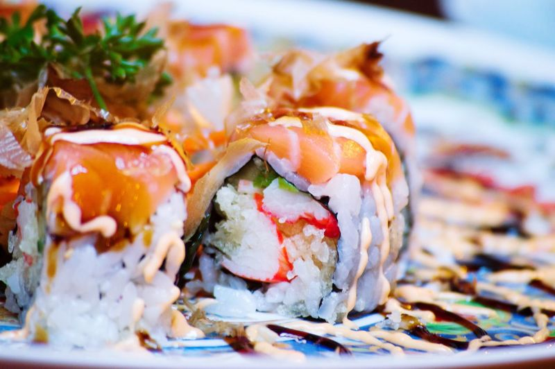 SEAFOOD🐡 Yammy!!  Healthy Eating Plate Freshness Sushi Japanese Food Colorful