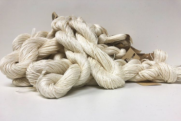 Linen Skein White Natural Skein Linen Skein Yarn Linen No People Still Life Close-up Large Group Of Objects Indoors