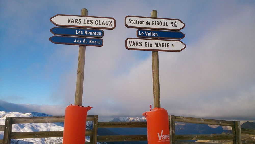 Where To Go? Sign Post at the Mountain Top Skiing Vars France (c) 2015 Shangita Bose All Rights Reserved Feel The Journey Snow Sports