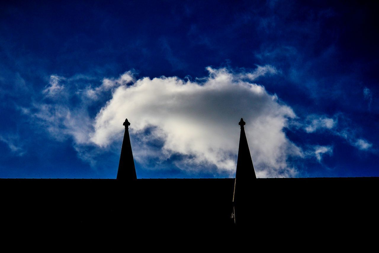 sky, low angle view, silhouette, blue, cloud - sky, no people, architecture, outdoors, built structure, day, building exterior