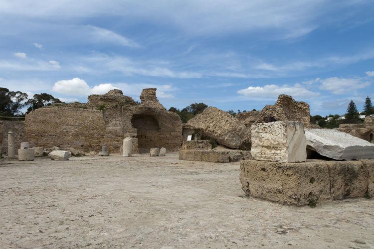 Old ruins at byrsa against sky