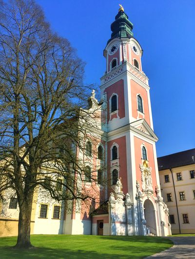 Church on a beautiful day Church Building Exterior Built Structure Architecture Tree Building Plant Low Angle View Sky Religion Nature Place Of Worship Tower Belief Spirituality Day No People Sunlight Outdoors Clock