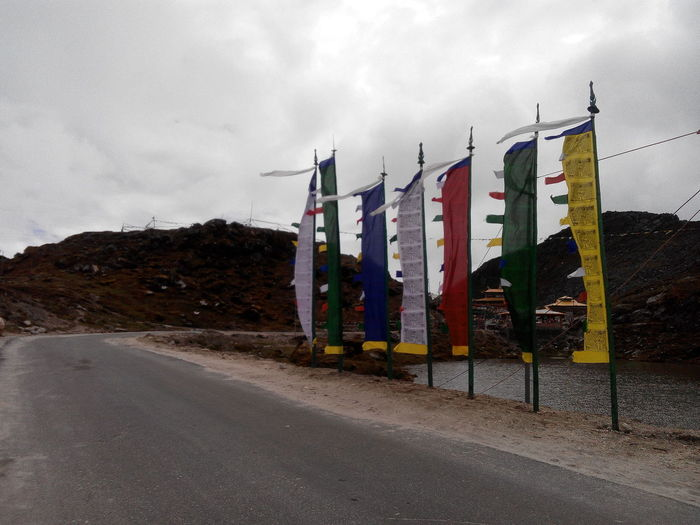 Flags of spiritualty located beside the road near 'se la pass',arunachal pradesh,India. Hills Lakeside Cloudy Flagsofspirituality First Eyeem Photo EyeEmNewHere Perspectives On Nature