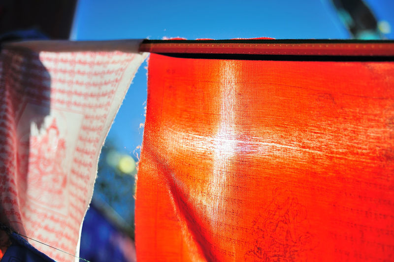 Close-Up Of Colorful Prayer Flags
