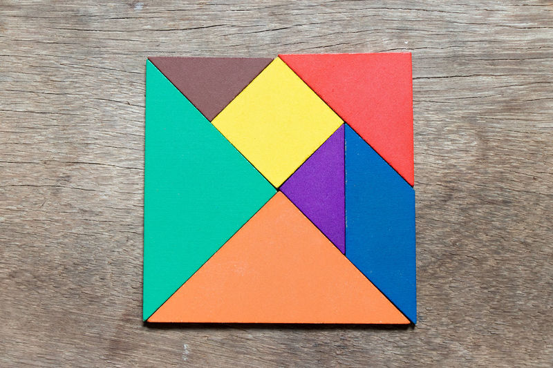 Wood - Material Shape Geometric Shape Design Creativity Tangram  Puzzle  Jigsaw  Game Child Kids Square Learning Ideas Complete Concept Design Element 7 Piece Part Of Wood Background Education Banner Frame Backdrop