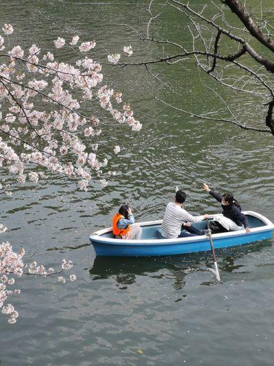 High angle view of people on lake