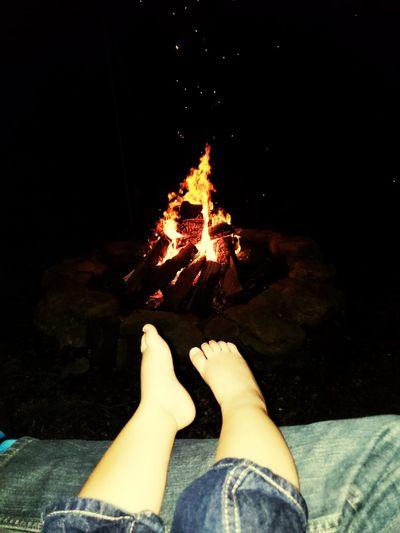 Flame Burning Human Foot Campfire Camping