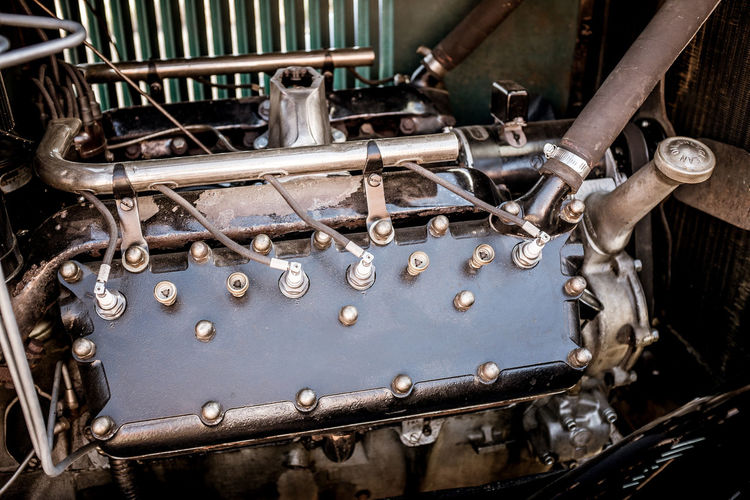 High Angle View Of Engine In Vintage Car