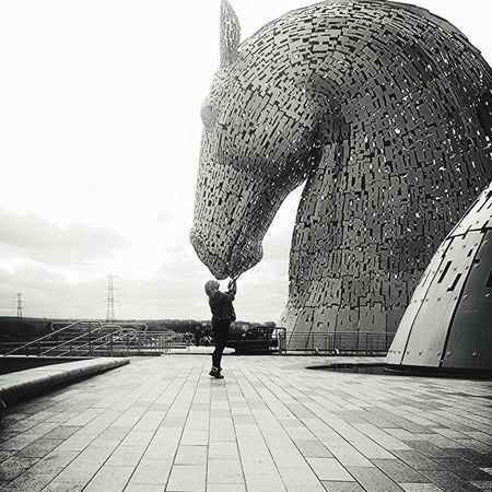Kissing the kelpie Kiss Kelpies Of Falkirk Kelpies  Blackandwhite Black And White Photography Angles Love Scotland Falkirk