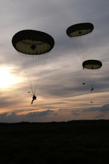 Air Vehicle Flying Mid-air Military Parachute Paratrooper Silhouette Sky Sunset