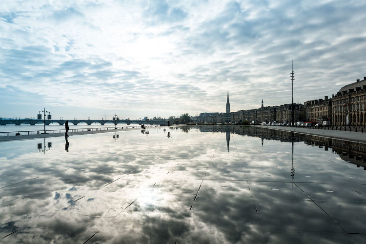 Reflection of sky in water mirror