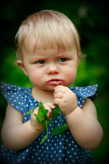 Close-up portrait of cute baby boy