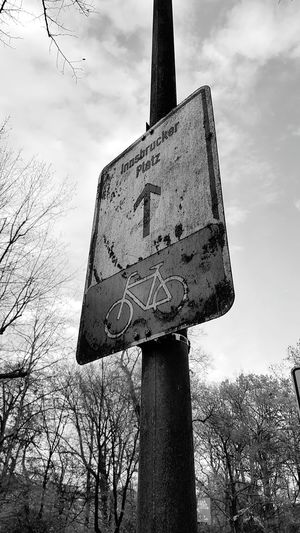 Sky Cloud - Sky Dramatic Sky No People Low Angle View Tree Outdoors Nature Representing Day Street Way Street Sign Sign Rust Rusty Cycling Cycling Trip  Trees Backgrounds Focus On Foreground Black And White Black And White Photography First Eyeem Photo Black & White