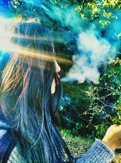GirlSmoke Nature Master Forest Path Trees And Nature Love Friendship Mobilephotography Firstclick Kisses