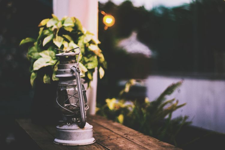 Lantern On Table By Plant During Sunset
