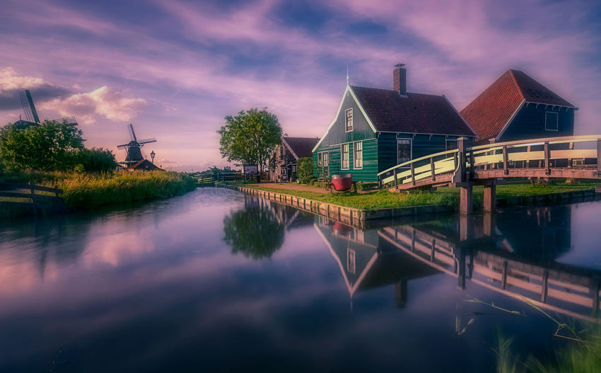 Architecture Built Structure Water Building Exterior Reflection Building Cloud - Sky Sky Waterfront House Nature Lake No People Tree Plant Residential District Outdoors Dusk Row House Remo SCarfo Dutch Zaanse Schans