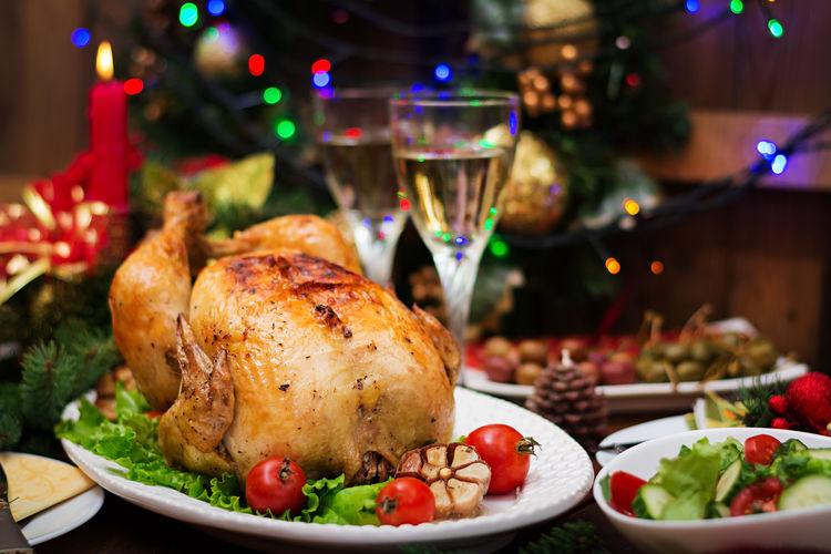 High Angle View Of Fresh Meal During Christmas