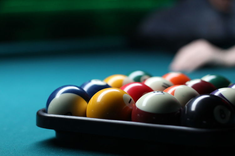 Close-Up Of Pool Ball On Table