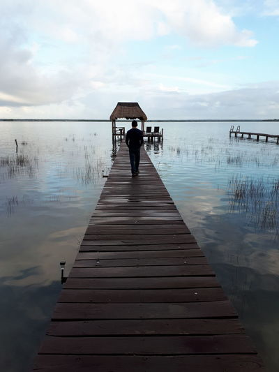 camino Full Length Water Lake Cloud - Sky Sky Pier Silhouette Wood - Material Rear View Tranquility Reflection
