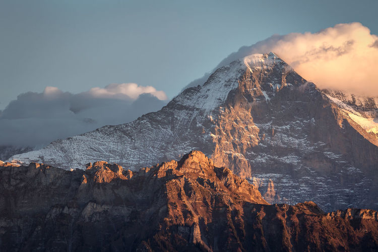 The famous eiger nordwand in grindelwald, switzerland
