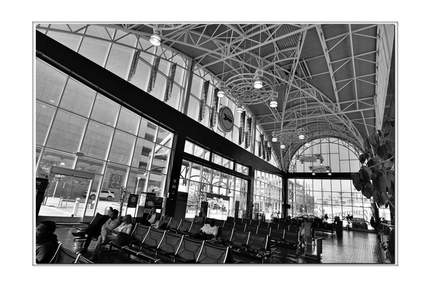 Train Terminal 3 C.L. Dellums Amtrak Station Okj Est. 1995 Jack London Square Port Of Oakland,Ca. Train Terminal Lines: Capitol Corridor, Coast Starlight, San Joaquin Platform & Track Union Pacific Railroad Architecture Modern Architectural Feature Glass,Steel, Stone Arches Windows Doorways Monochrome_Photography Monochrome Black & White Black & White Photography Black And White Black And White Collection  Passenger Seating Skylights Tall - High Architectural Detail Railroad Station Rail Transportation The Architect - 2018 EyeEm Awards