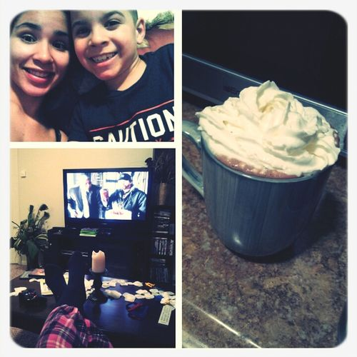 Hot cocoa &a movie with this nigga lol my nephew <3