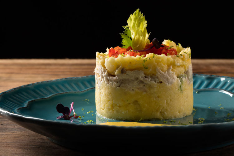 Causa Rellena Causa Rellena De Pollo Food Food And Drink Freshness Healthy Eating Indoors  Indulgence Mashed Potatoes Meal Organic Peruvian Peruvianfood Plate Potato Ready-to-eat Still Life
